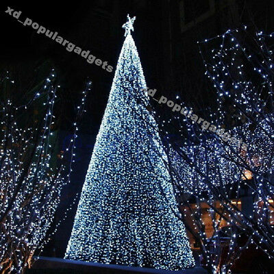 Solar 50/100/200/300/400 LED String Fairy Lights Outdoor Garden Xmas Tree White