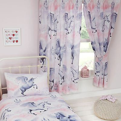 "STARDUST UNICORN 66"" x 72"" LINED CURTAINS PRINCESS BEDROOM"