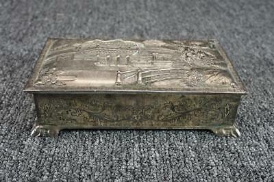 Metal Trinket/Jewelry Box Japanese Scene Made In Japan