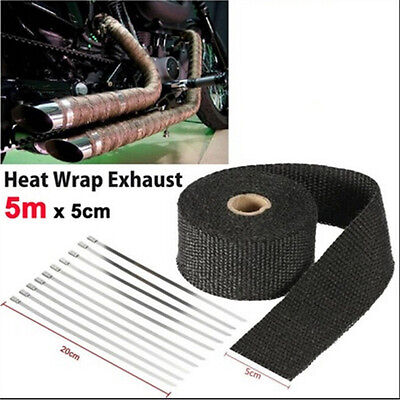 Black 5m Exhaust Heat Wrap Turbo Pipe Heat Insulated Wrap for Car Motorcycle HGU