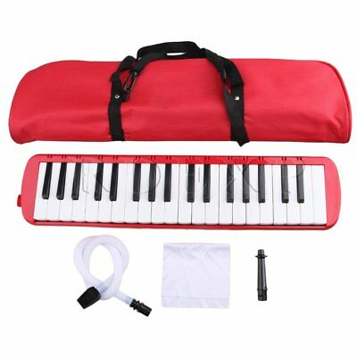 Red 37 Notes Piano Keys Melodica Portable w/ Bag Mouthpiece Tube