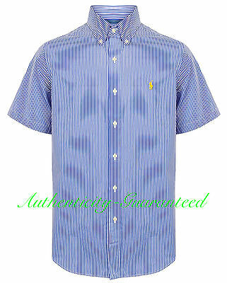 Ralph Lauren Custom Fit Blue Stripe Short Sleeve Shirt M /L RRP £100
