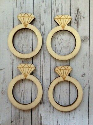 10 Natural Wooden Engagement Rings Wedding Card Making Scrapbook Embellishments