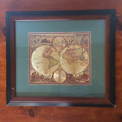 Historical world map gold jigsaw puzzle 1000 pieces exclusive framed metallic foil world map gold green cherubs historic 17 x 14 gumiabroncs Gallery