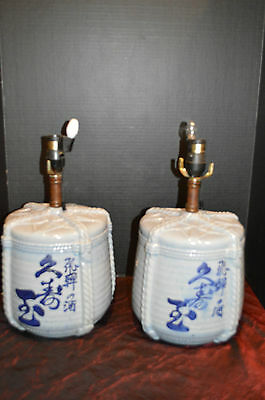 """Vintage Asian Porcelain Pair of Blue and white Decorative Table Lamps 16""""x10"""""""