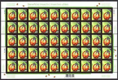 mca. LADY BEETLE Insects Sheet of 50 definitive stamps Canada 2007 #2234 MNH