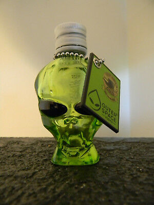 """HTF Outer Space Vodka Alien Head Green Glass Bottle With Tag 3 1/2"""" Empty"""