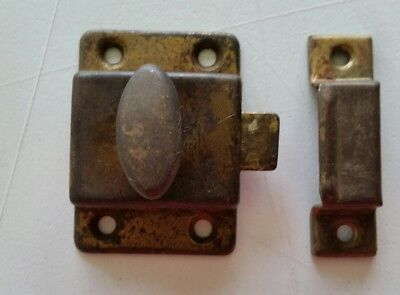 Vintage Old Metal Cabinet Cupboard Latch With Catch Old Finish   (340Q)