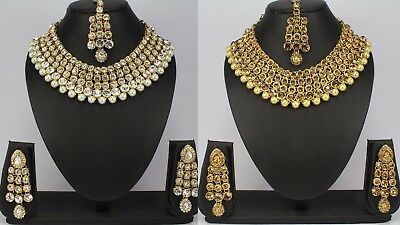 Gold Plated Indian fashion jewellery wedding party kundan women new necklace set