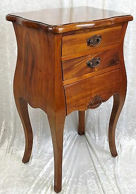 New Solid Mahogany French Design Bedside Table With Drawers. Free Delivery