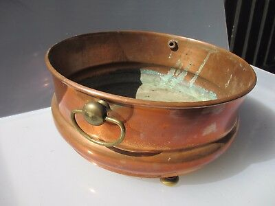 Vintage Copper Trough Tub Planter Plant Pot Antique Round Brass Handles Old Urn