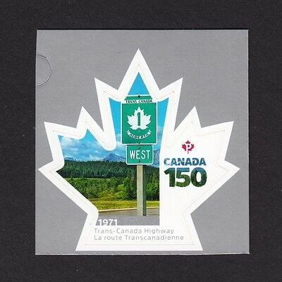 da. CANADA 150 Celebration, TRANS-CANADA HIGHWAY, Stamp from booklet, MNH 2017
