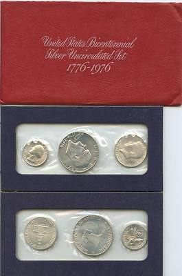 GN435 - USA Mints Bicentennial Silver Proof Set 1976 S - ¼ + ½ + 1 $ 1976 Silber