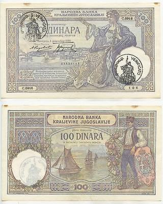 "GB207 - Banknote MONTENEGRO 100 Dinara 1929 ""VERIFICATO"" Italien Occupation WWII"