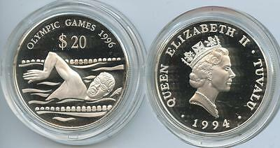 G2003 - Tuvalu 20 Dollars 1994 KM#24 Schwimmer Olympic Games 1996 Proof Silber