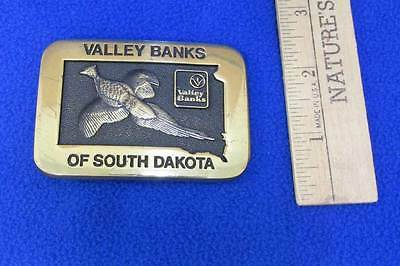 Valley Banks of South Dakota Solid Brass Belt Buckle Pheasant Bird Design