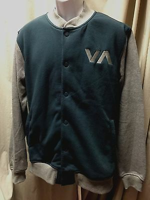 Men's RVCA Jacket XL Navy & Gray Fleece Snap Front New With Tags