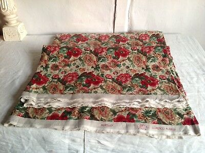 Floral Linen Fabric Green&Red Printed Textile Panel Furnishing / 410cm x 137 cm
