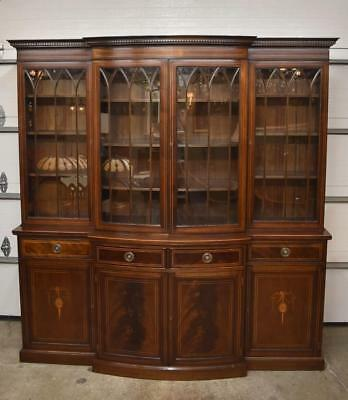 18th Century Georgian Walnut Breakfront China Cabinet with Inlaid Detail
