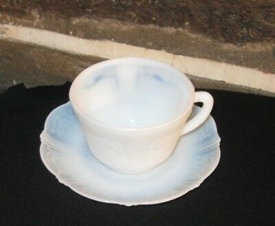 CUP & Saucer  petal ware opalescent raised design American sweetheart
