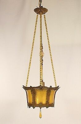 Antique 1 Light American Amber Glass & Brass Finish Gothic Basket Lantern