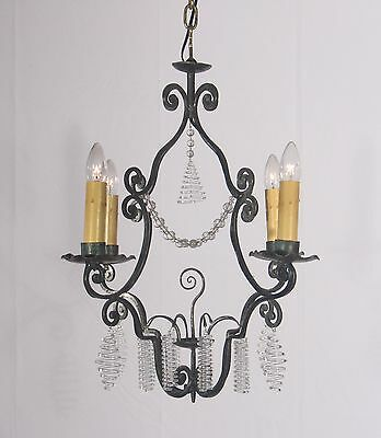 Antique 4 Light Black Wrought Iron Chandelier Trimmed w/ New Italian Glass