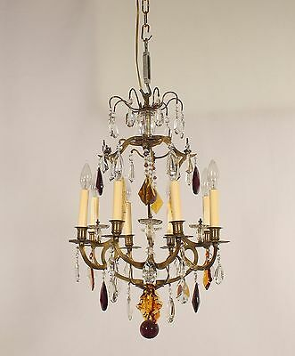 Antique 8 Light Versailles Style Cast Brass Chandelier w/ Multi-color Crystals