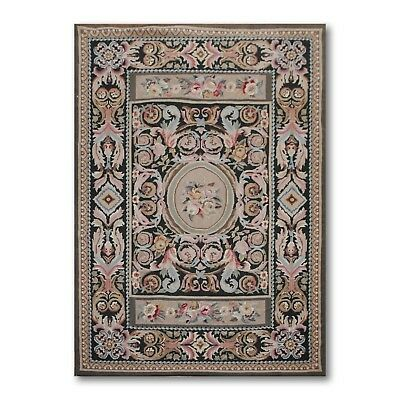 4' x 6'  Hand woven French Needlepoint Aubusson Area rug flat pile wool 4x6
