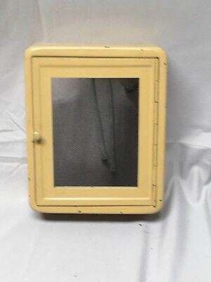 "Small Antique 8""x6 1/2"" Shaving Mirror Cabinet Old Vtg Bathroom Fixture 634-17E"