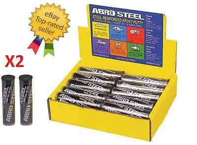 Abro Steel Reinforced Epoxy Metal Instant Repair Putty Weld 2Oz As224 (X2)