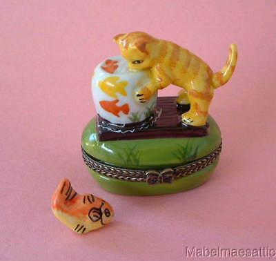 New Handpainted Yellow Tabby Cat & Fishbowl  Goldfish Porcelain Hinged  Box Gift