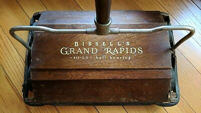 Antique BISSELL Grand Rapids Hi-Lo Sweeper with Wooden Housing