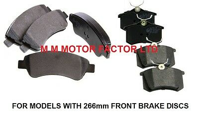 PEUGEOT 307 1.4 1.6 2.0 HDi 16v (01-08) FRONT and REAR BRAKE PADS SET NEW