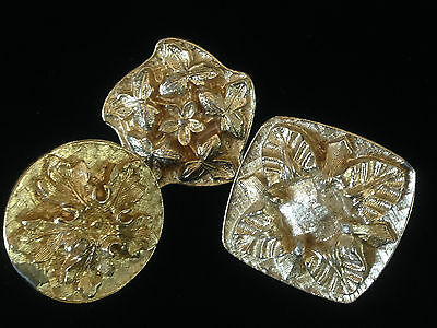 Antique Vintage Gold Embossed Metal  floral Knobs Drawer Pulls Handles lot of 3