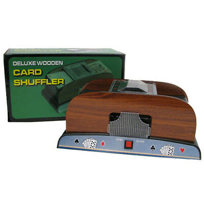 2 Deck Automatic Wood Side Card Shuffler, use for Blackjack, Poker, Other Games