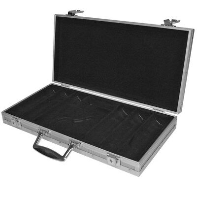 300 Capacity Aluminum Poker Chip Case, Black Felt Lined Interior w/Button Space