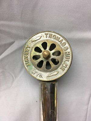 Antique Nickel Brass Clawfoot Bathtub Overflow Drain Pipe Cover Old Vtg 637-17E