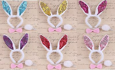 Bunny Ears Costume Set Pink Sequin Rabbit Headband Bow Tie And White Bunny Tail