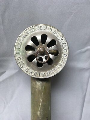 Antique Nickel Brass Claw foot Bathtub Overflow Drain Pipe Cover Old Vtg 638-17E