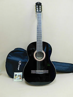 "Caraya C-955 ""M"" Series Classical Guitar BLACK + Gig Bag + Strings – Factory 2nd"
