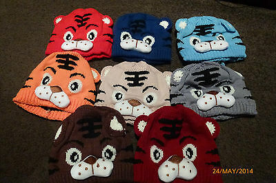 NEW BABY TIGER KNITTED BEANIE / HAT with tail