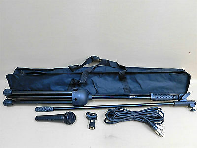 FOUR (x4) Haze MS-1 Dynamic Microphone-Stand-Cable-Clasp FULL KITS w/Carry Bags