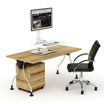 Brateck DWS03-T01 Height-Adjust Single Display + Keyboard Tray Desk Stand WHITE