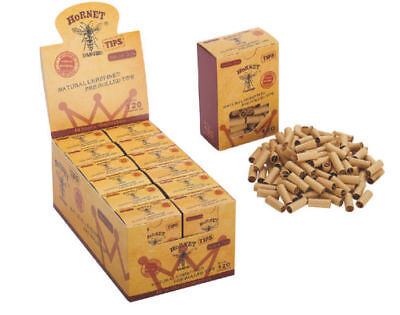 120x-HORNET-PRE-ROLLED-Natural-UnRefined-Cigarette-Filter-Rolling-Paper-Tips-7MM