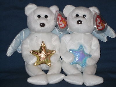 TY BLUE & GOLD STAR ANGEL BEAR BEANIE BABIES - MINT with MINT TAGS