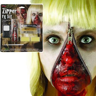 Zipper Fx Make Up Kit Fake Zip Zombie Wound Cut Gore Scar Halloween Fancy Dress