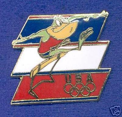 USA Olympic Team Michigan J Frog Track Hurdles Warner Bros WB Cartoon Lapel Pin