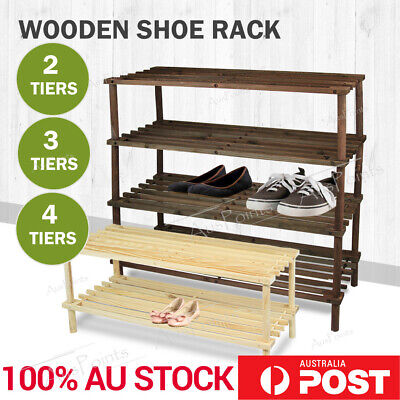 2 3 4 Tier Bamboo Shoe Rack Organizer Wooden Storage Shelves Stand Shelf