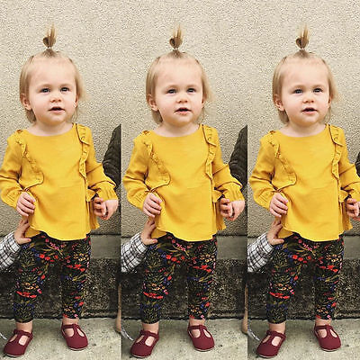 Infant Kid Baby Girls Autumn Long Sleeve casual T Shirt Tops Sweatsuit Outfits