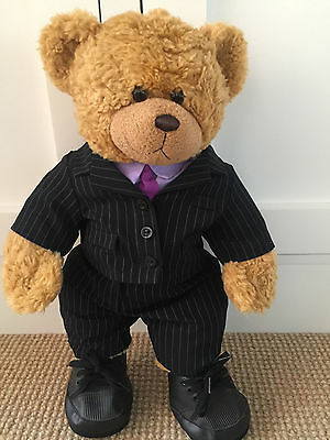 BEAR FACTORY Pin Striped Suit, shirt with tie and shoes for teddy bear. Like new